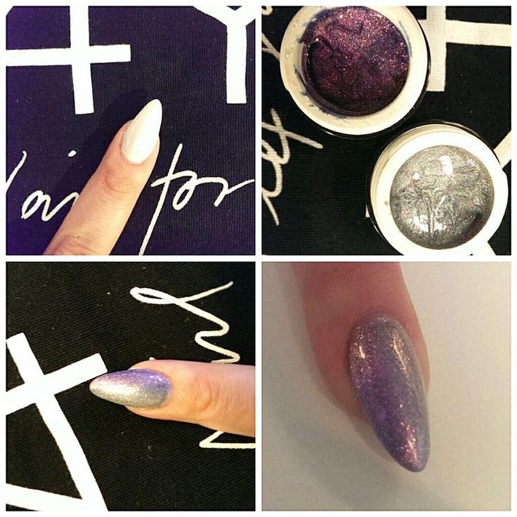 Gele negle med negle glimmer af Tina Kaas med negle produkter fra Nail4you.dk Mandelformede negle med color uv gel i negle glimmer farver.