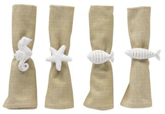 Seashore White Napkin Rings