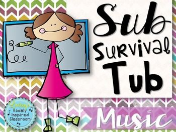 "This is your ""Sub Survival Tub"" that music teachers can feel comfortable leaving with subs who have zero experience teaching music and may not be able to sing or read music. It includes editable sub binder pages, mp3's for 14 singing games and directions for playing the games, and 5 children's literature mini lessons for the elementary music class.  #musiceducation"
