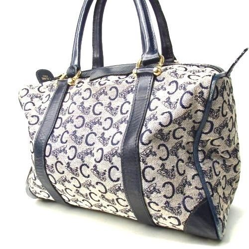 4fda39a818 Authentic CELINE Macadam Pattern Boston Bag Gray Vintage US Seller ...