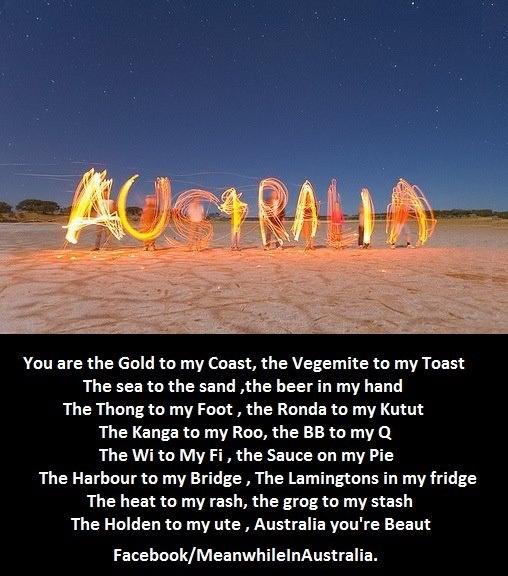 australia day poem. OMG the Rhonda to my Kutut. I love those commercials