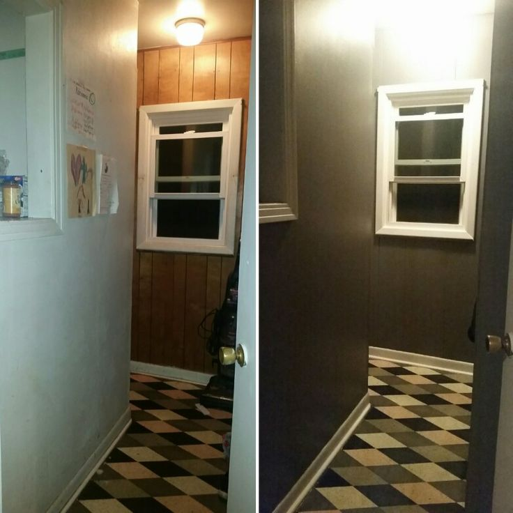 Repainted hall closet from drab to fab! Walls in Glidden Paint with primer in Seal Gray, and trim painted in Glidden Paint with primer in White. #glidden #repaint  #gray #white #hall #closet #paint #homedecor