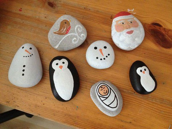 When you live near the beach you may have collected special rocks over time. This Christmas season may be the best way to use them by painting on Christmas related characters on them.