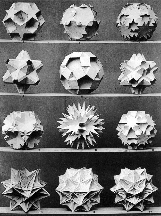 Max Brückner, from his book Vielecke und Vielfläche, 1900. Leipzig, Germany. Via Bulatov. Brückner extended the stellation theory beyond regular forms, and identified ten stellations of the...