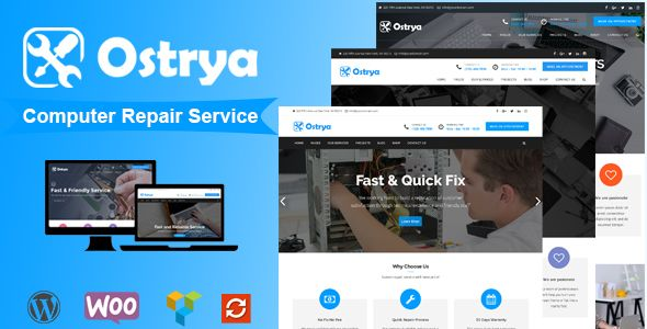 Ostrya v1.0.7 is a Premium WordPress theme designed for Computer & Laptop repair service companies and home repair services companies who wants a professional online presence, Ostrya provide many features to create your own company website easily without writing any line of code. It build...