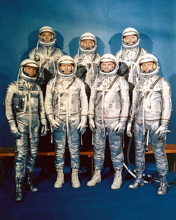 The National Aeronautics and Space Administration came into being on October 1, 1958. NASA announced the seven Project Mercury Astronauts on April 9, 1959, only six months later. They are: (front, l to r) Walter H. Schirra, Jr., Donald K. Slayton, John H. Glenn, Jr., and Scott Carpenter; (back, l to r) Alan B. Shepard, Jr., Virgil I. Gus Grissom, and L. Gordon Cooper.