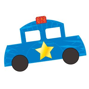 """Darling Patrol CarLooking for a """"wheel-y"""" cool addition to your community helpers study? This simple police car is just the ticket!    Supplies:    •half a paper plate (car)  •adhesive mailing label (windows)  •small red paper rectangle (light)  •scissors  •blue tempera paint  •paintbrush  •2 black construction paper circles (wheels)  •glue  •large star sticker  •red glitter  Setup:  Cut two notches from the paper plate so it resembles a car. Cut the mailing label in half to make two…"""