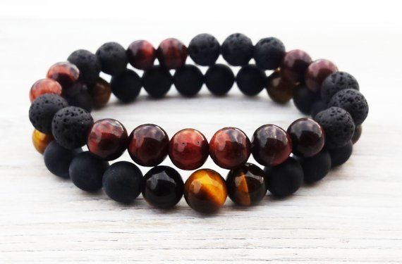 Christmas Gifts Tiger Eye Bracelet Stackable Bracelet Men Beaded Gemstones Bracelets Bracelet Set Gifts For Him Husbands Gifts For Boyfriend #giftsfor…