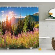 Nature Shower Curtain Set, Fall Season Landscape Picture in Mountains with Flowers Alpine Trees Forest at Sunrise, Bathroom Decor, Green Pink, by Ambesonne Image 1 of 1