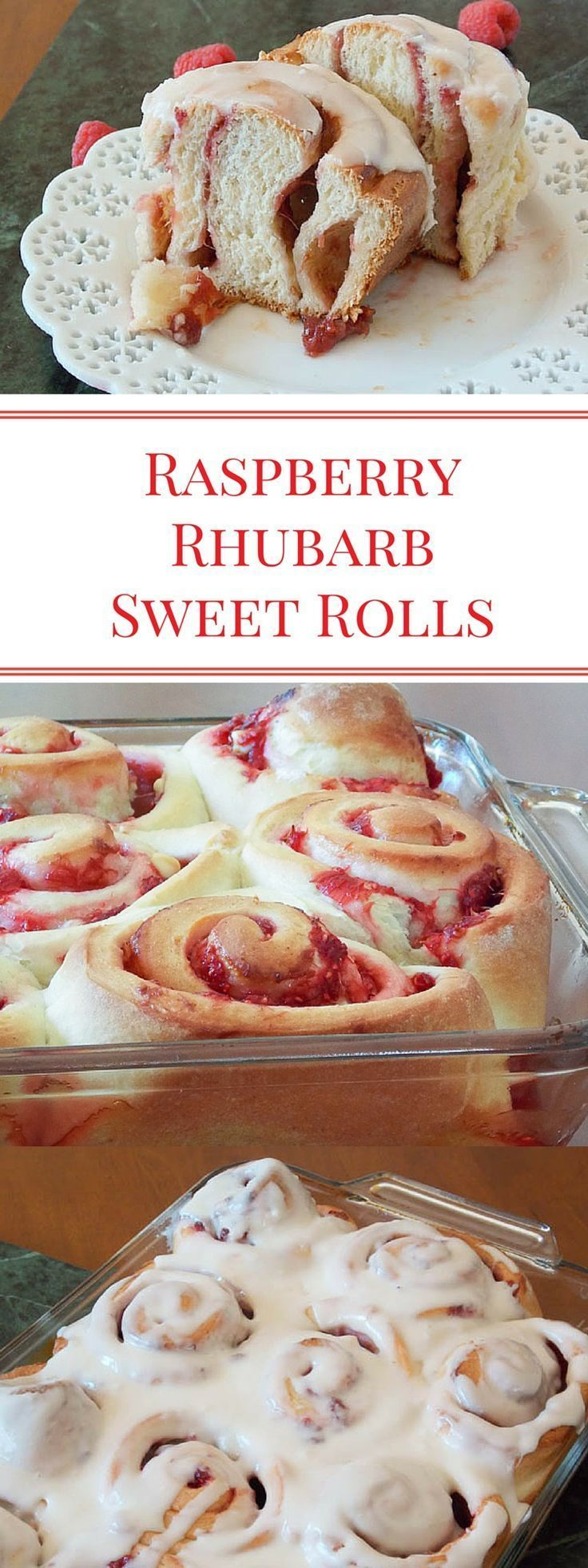 Raspberries and Rhubarb, cooked down with a little sugar and thickened into a sauce made a very delicious filling for this sweet roll dough! #SundaySupper