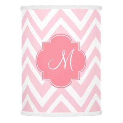 #initial - #Monogram Pastel Pink Chevron Pattern Lamp Shade