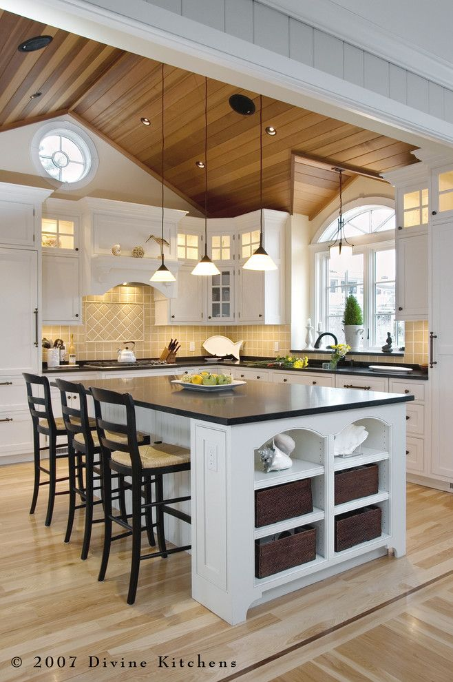 White kitchen and wood tray ceiling