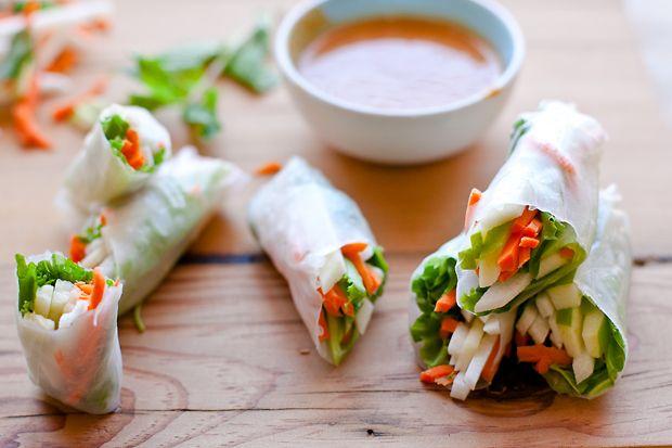 Apple Jicama Salad Rolls with Peanut Dipping Sauce   eHow Food