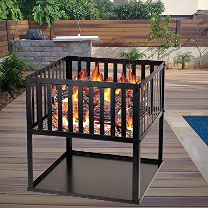 Nero-Braciere quadrato con Bruciatore a legna, colore: nero-BBQ giardino Patio Outdoor, campeggio, barbecue camino