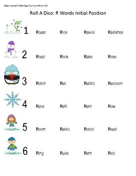 Free! Articulation Roll a Dice Activity...initial r, ch, th, and l...fun points game thanks to Major Speech Pathology fun by a Minor girl