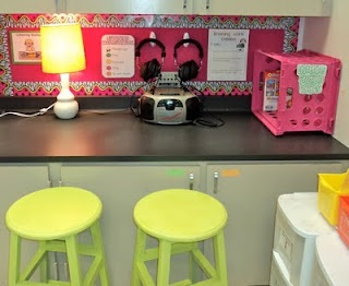 Listening Center....I am going to move my center to the window shelf and get some cute bar stools.  Love this idea and it will allow me to remove a table! :): Listening Centers, Center Ideas, Classroom Decor, Grade Fresh, Bar Stools, Listening Stations, Classroom Ideas, Classroom Organization, First Grade