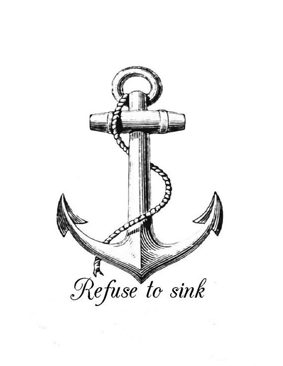 Anchor iron on transfer Anchor Refuse to sink personalized custom iron on  T-shirt iron on