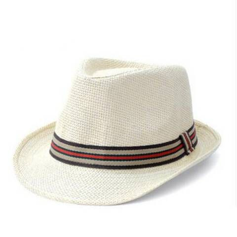 Mens straw panama hat striped hatband for summer