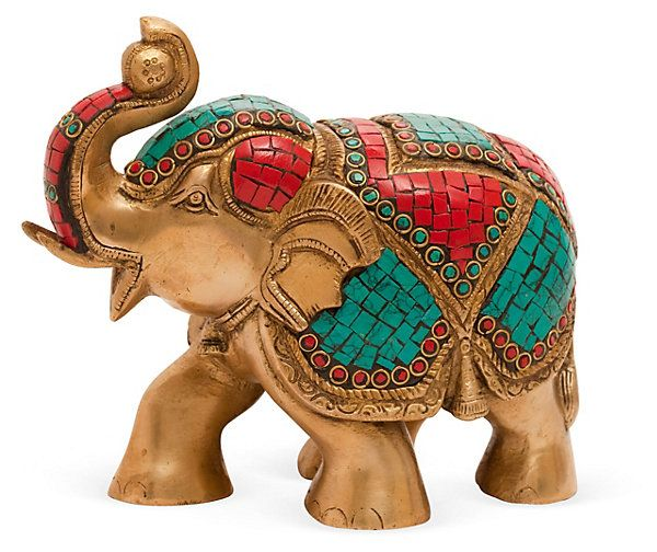 "One Kings Lane - HGTV: Layer in Texture - 7"" Brass and Stones Elephant.  So Colorful!"