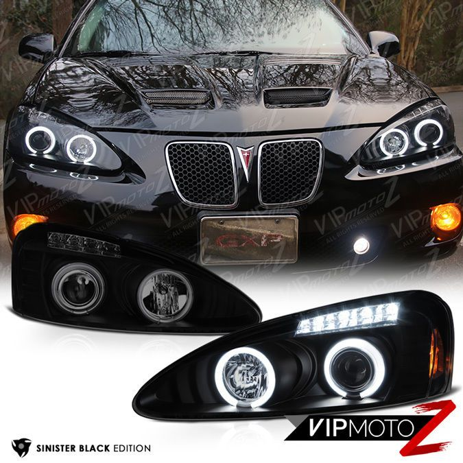 "2004-2008 Pontiac Grand Prix ""SINISTER BLACK"" CCFL Halo LED DRL Headlights Lamps #VIPMOTOZ"