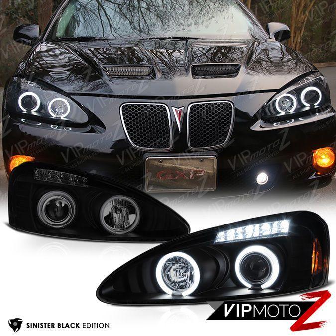 2004 2008 Pontiac Grand Prix Sinister Black Ccfl Halo Led Drl Headlights Lamps 7425936938952 Ebay