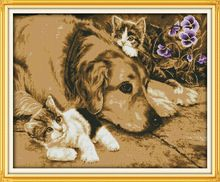 Intimate partner dog and cats Printed Canvas DMC Counted Cross Stitch Kits printed Cross-stitch set Embroidery Needlework(China (Mainland))