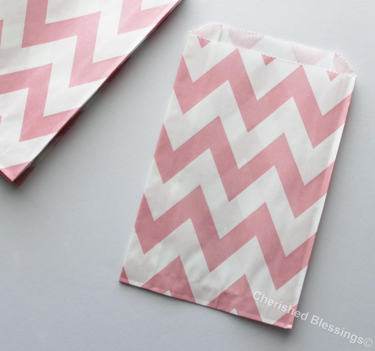 Chevron Favor Bags 20 Pink Wedding Candy Buffet Baby Shower Paper Goods Favors Kids Birthday Party Carnival Popcorn w/ straw flags. $5.99, via Etsy.