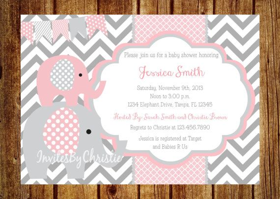 Pink and Gray Elephant Baby Shower Invitation- Digital File- DIY Printable - Elephant Baby Shower Invitation, Chevron Invitation on Etsy, $14.00