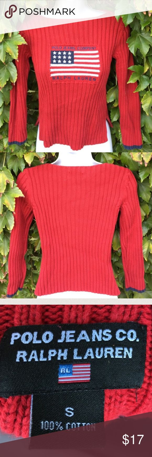 Polo Jeans red flag sweater Gently worn , warm , size S, a bit of stretch Polo by Ralph Lauren Sweaters