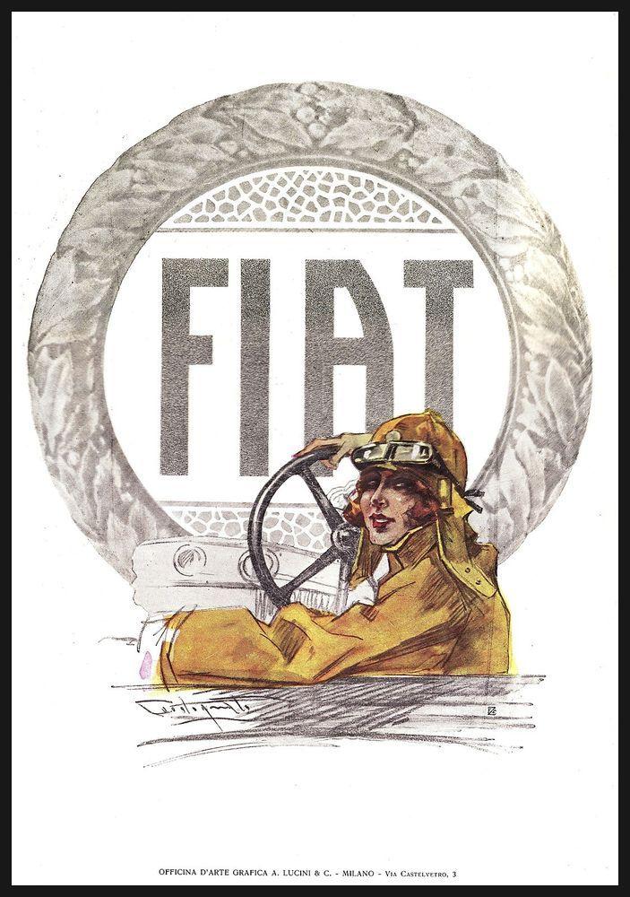 PUBBLICITA' 1924 FIAT AUTO AUTOMOBILE PILOTA DONNA VOLANTE P. CODOGNATO LUCINI