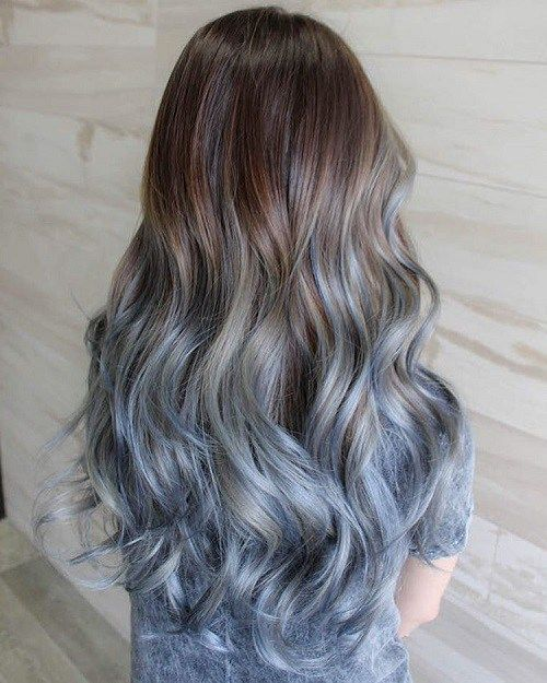 Brown To Pastel Blue Ombre Hairstyles for Fall/Winter 2016 - 2017