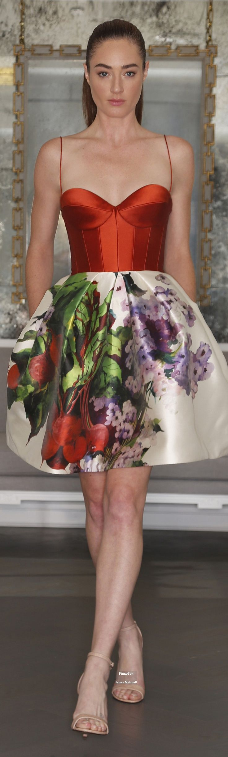 Romona Keveza Collection ~ fall 2016 Bridal Floral Midi Dress