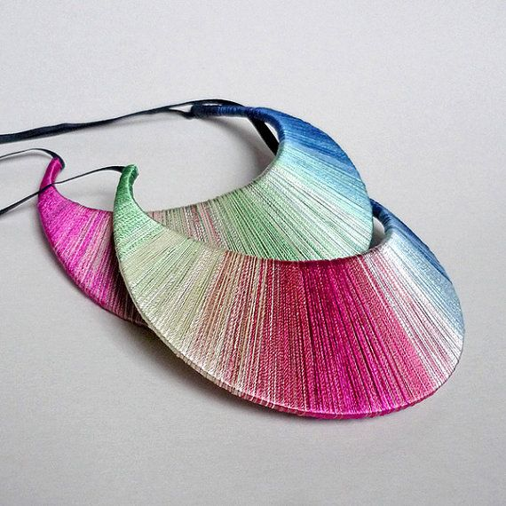 Turmalin Ombre Silk Jewelry Pink Blue Green Yarn by Czolori