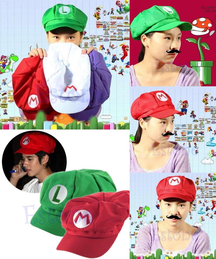 [Visit to Buy] 2017 New Fashion Super Mario Bros Adult Size Cosplay Baseball Costume Cap Green & Red 1 Pcs New Fashion Women Men Fitted Hats #Advertisement