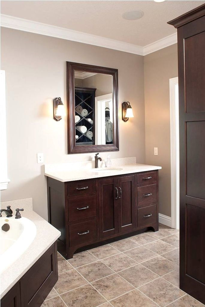 bathroom color ideas with brown cabinets in 2020  wood