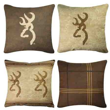 Browning Buckmark logo pillows for the deer hunters cabin, hunting lodge or home.  http://www.delectably-yours.com/Browning-Buckmark-Bedding-C753.aspx