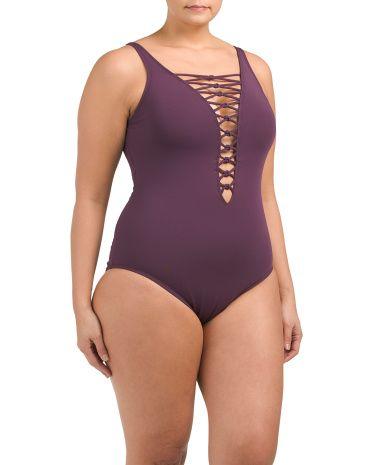 af4fe8116cf Plus Oh So Knotty One-piece Swimsuit - Swimwear - T.J.Maxx ...