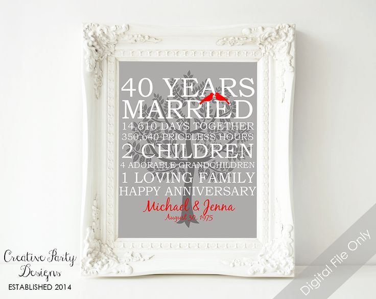 Creativepartydesigns Shared A New Photo On Etsy 35th Wedding Anniversary Gift 40th Wedding Anniversary Gifts Anniversary Gifts For Parents