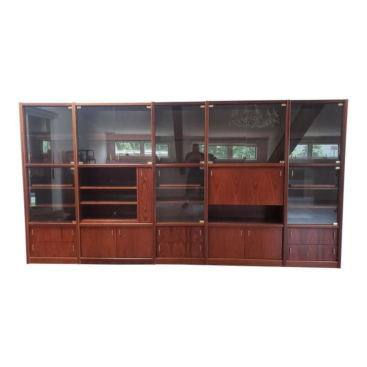 Vitrinenschranke 1980er Jahre Palisander 5 Pc Wandschrank Vitrine Mit Bar Glasturen 1980e Wall Unit Glass Door Display Cabinet