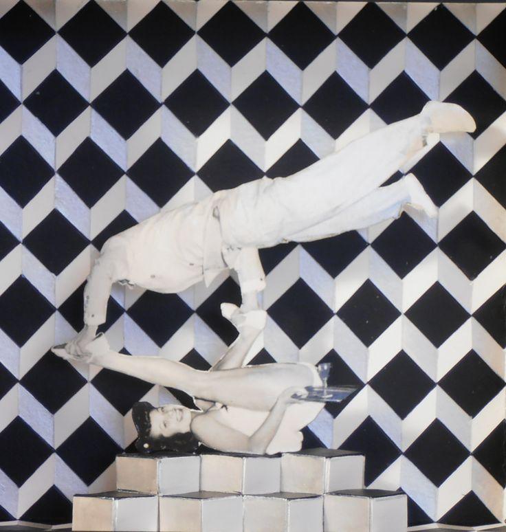 Gloria&Argos. Collages i acrílic sobre cartró. 30x30x7 cm.