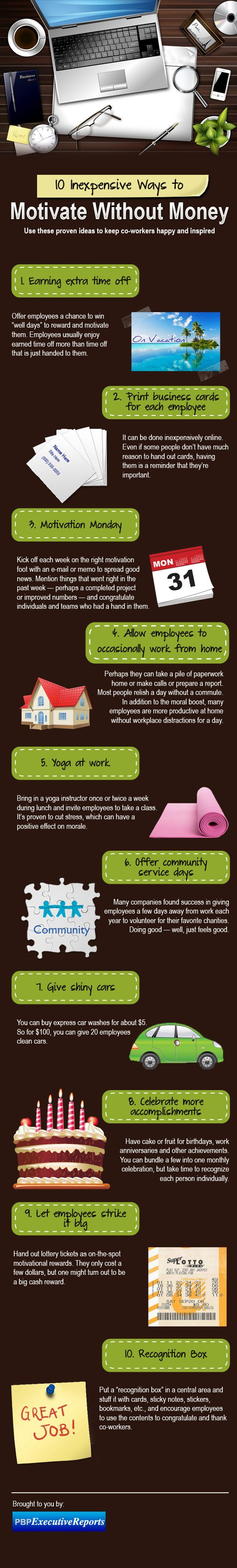 10 Inexpensive ways to motivate employees [Infographic]