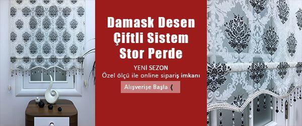 Siyah Damask Desen Çiftli Sistem