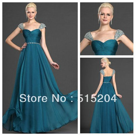 Hot Sale Emerald Green Empire Long Chiffon Modest Prom Dress With Sleeves Mother Of Bride Dress 2013 New Arrival-in Prom Dresses from Apparel & Accessories on Aliexpress.com