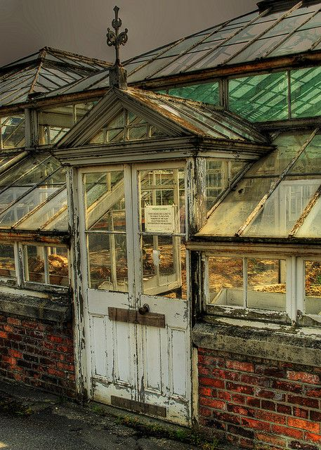 """Absolutely love the old brick and doors on this greenhouse - gives it that """"I've been here since dirt was invented"""" look."""