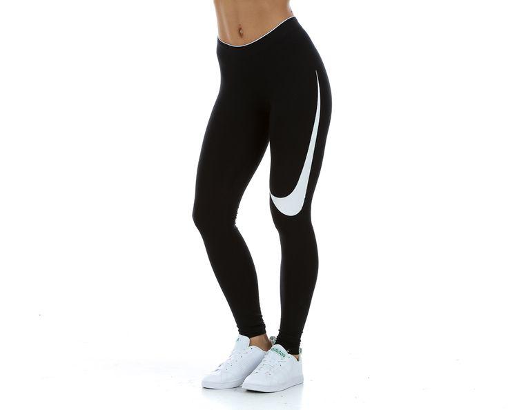 Nike - Swoosh Club Legging | Trikoot | Musta/valkoinen   | Sportamore.fi