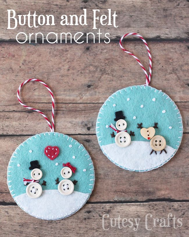 Button and Felt DIY Snowmen Christmas Ornaments