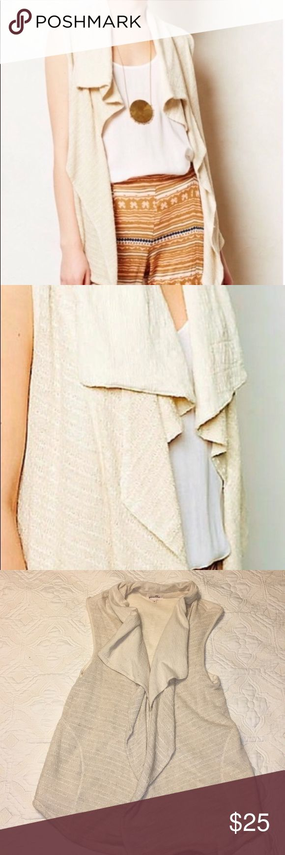 Anthropologie open, cream vest. Puella branded open vest from a Anthropologie. Lightweight knit material. Longer and looser in front with two side pockets. Great for all seasons! Good as new! Anthropologie Jackets & Coats Vests