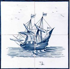 #azulejos #bateau (réf :cerb_129_3_5)  #mer #carrelage #tile #boat #sea #decoration #bleu #blue