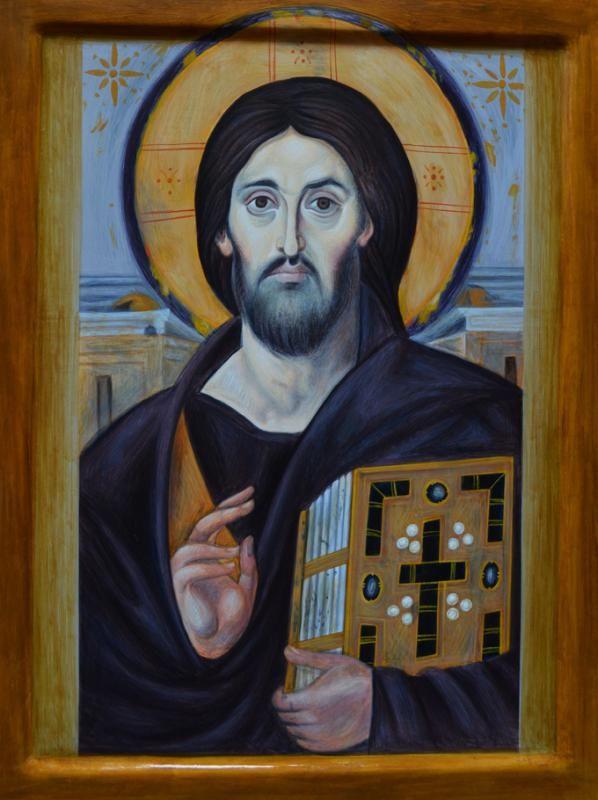 Ο ΙΣ ΧΣ. πιστό αντίγραφο εικόνας από τη μονή της Αγίας Αικατερίνης στο όρος Σινά.