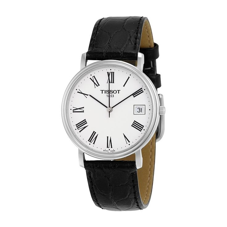 Tissot Men's T52142113 T-Classic Desire Stainless Steel Watch With Black Leather Band. Polished silver-tone watch featuring white dial with date window at 3 o'clock, slender black Roman numeral indices, and slim stick hands. 34 mm stainless steel case with scratch-resistant sapphire dial window. Swiss quartz movement with display. Croco-embossed leather band with buckle closure. Water resistant to 30 m (99 ft): In general, withstands splashes or brief immersion in water, but not suitable…
